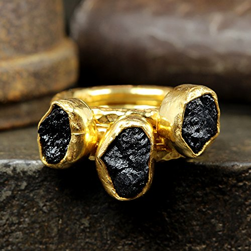 Natural Raw Black Tourmaline Stackable Ring Set Hammered 24K Yellow Gold Vermeil 925 Sterling Silver Set of Three Rough Gemstone Stacking (24k Tourmaline Ring)