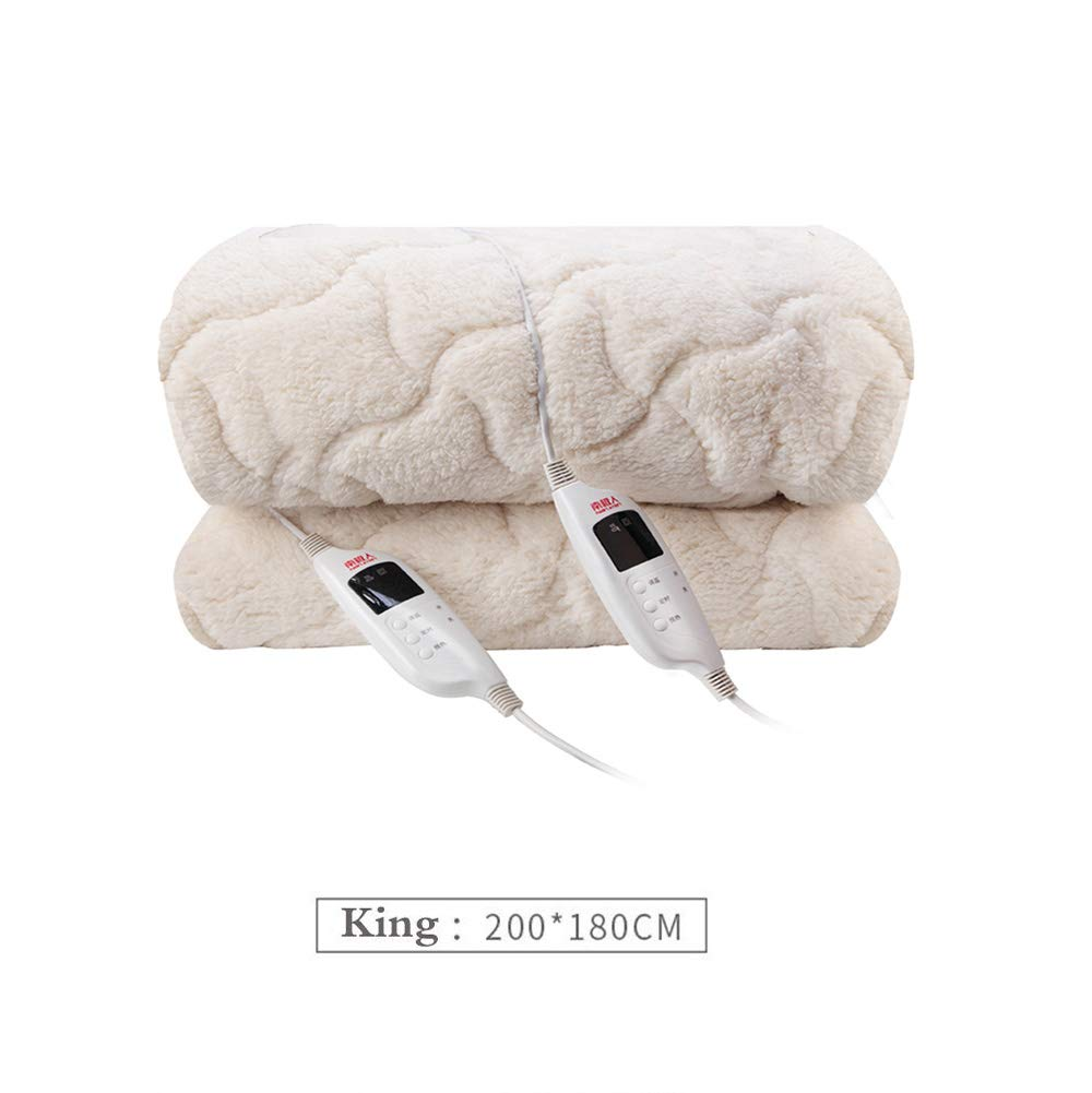 Super Soft 100/% Cashmere Heated Electric Throw Blanket Bed Couch Double Bed Timer Function,King,White,King Electric Heated Blanket 9 Comfort Settings Dual LED Controllers