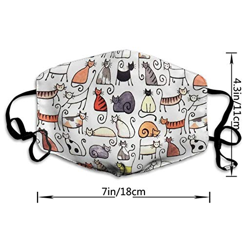 AGRBLUEN Women Men Kids Fashion Adjustable Mouth Mask Anti Dust Pollution Face Mouth Mask Reusable Mouth Masks for Cycling Camping Travel - Cartoon Cute Short Pussy Cat