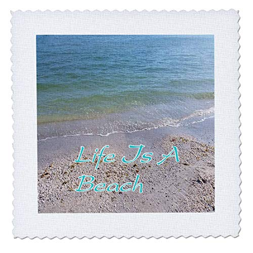 3dRose lens Art by Florene - Florida - Image of Life Is A Beach On Shelled Sanibel Beach - 8x8 inch quilt square (qs_312612_3)