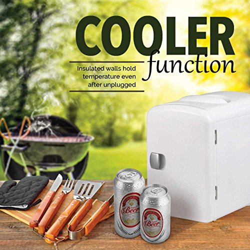 Gourmia GMF600 Thermoelectric Mini Fridge Cooler and Warmer - 4 Liter/6 Can - For Home,Office, Car, Dorm or Boat - Compact & Portable - AC & DC Power Cords - White by Gourmia (Image #6)
