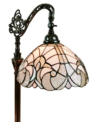 Floral Stained Glass Floor Lamp - Amora Lighting AM262FL11 Tiffany-Style Reading Floor Lamp, White