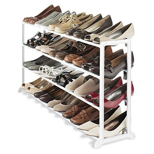Durable White Resin Frame Home Office Dorm Room Under Most Hanging Clothes 20 Pairs of Shoes Rack Floor Shoe Stand