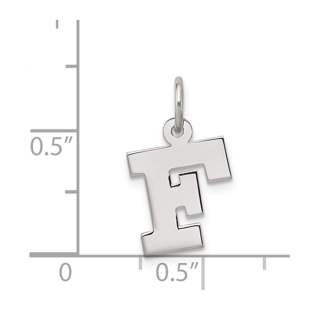 Bonyak Jewelry Sterling Silver Rhodium-Plated Small Block Initial F Charm
