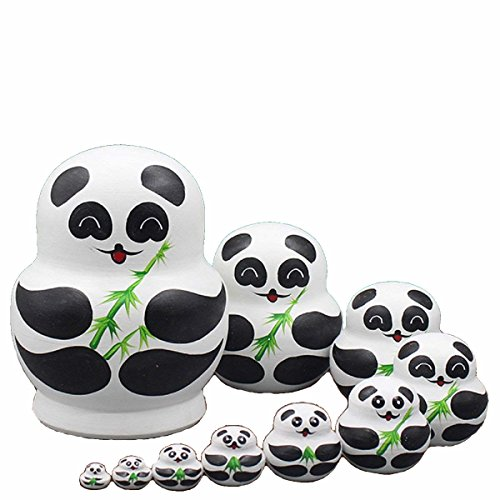 King&Light - 10pcs Bamboo Pandas Russian Nesting Dolls Matryoshka Wooden Toys