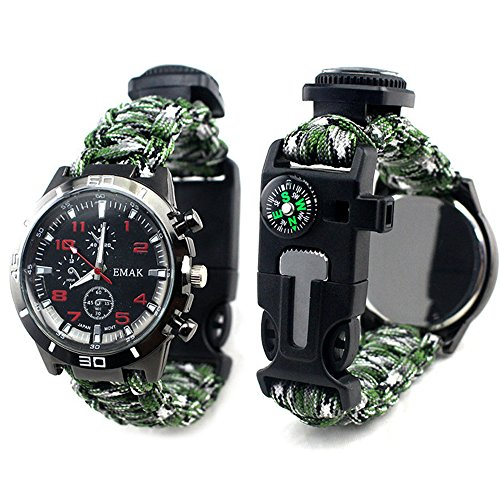 The Yan He Multi Function Outdoor Living Chain Flint fire, Compass, Wrist Watch, Thermometer, First aid Whistle and Knife/Scraper (Camouflage in Mountain Area)