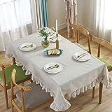 Sandweek Vintage Cotton Linen Tablecloth Tassel