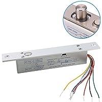 UHPPOTE NC Fail Safe DC12V Deadbolt Electric Drop Bolt Plug Narrow Door Lock Time Open Wire