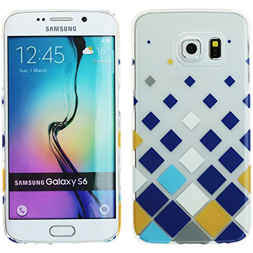 White Checkers Protector Case - Galaxy S6 Case, Samsung Galaxy S6 G920 Cover, DURARMOR® ThinArmor [Lifetime Warranty] Clear Blue Teal Gold White Checker UV Print ScratchSafe Ultra Slim Case Protector Cover
