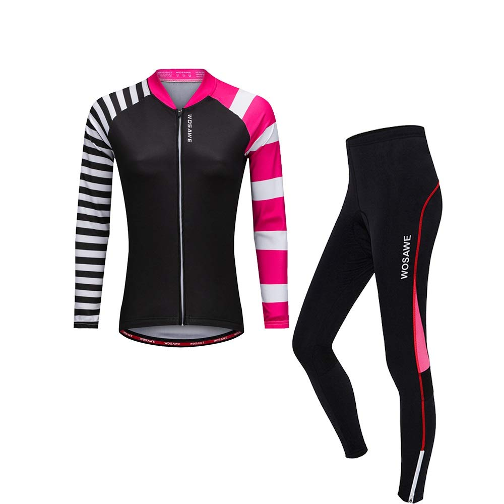 B Women's Cycling Jersey Set Summer Spring Long Sleeve Bike Clothes 3D Breathable Gel Pad Bicycle Clothing