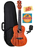 Luna Malu Mahogany Maluhia (Peace) Concert Acoustic-Electric Ukulele Bundle with Hard Case, Tuner, Austin Bazaar Instructional DVD and Polishing Cloth