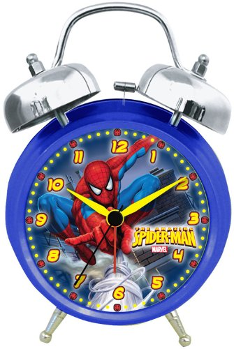 Marvel Spiderman SMC100TB Quartz Analog Twin Bell Alarm Clock (Blue/Silver)