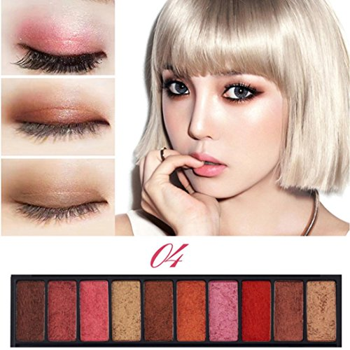 Pro Eyeshadow Palette Big Promotion!ZYooh Luxury Golden Pearl Matte Nude Eyeshadow 10 Colors Halloween Makeup Palette (D)]()