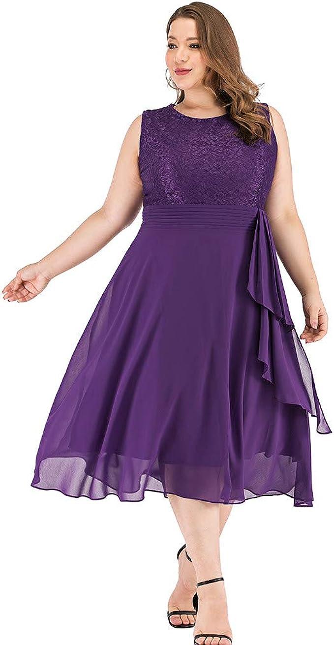FRAUIT Damen Übergröße Abendkleid Spitze Stickerei Cocktailkleid