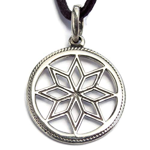 Pagan Alatyr Sterling Silver Pendant Necklace Norse Nordic Wiccan Jewelry for Men Women Protection Good Luck Amulet Ancient Slavic Solar Symbol Handmade