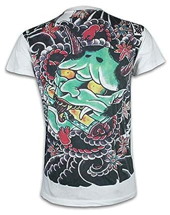 Ako Roshi Camiseta Hombre Demonio Talla M L XL Japón Artes Marciales Tatuaje Irezumi Hannya Buda Akuma (M, Blanco)