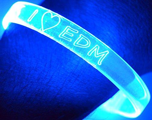 GlowCity I Heart EDM Light Up Bracelets(2pack) (Blue) ()