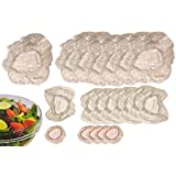 Set of 60 Clear Stretch-To-Fit Plastic Food Storage Cover Set, 3-Size Color-Coded Elastic Assorted Pack for Bowls, Plates, Dishes, Cans, Containers, and More, with15 Small, 24 Medium, and 21 Large