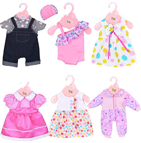 ebuddy 6 Sets Doll Clothes Outfits for 14 to 16 Inch New Born Baby Dolls and for 18 Inch American - American 16 Doll Girl 18