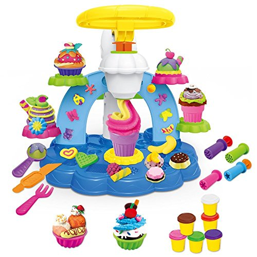 Kids Clay Dough Tools Playset, Toddler Tool Set & Play Kitchen Food Creations, Preschool Educational Art and Craft Kit With Ice Cream Maker, Dough Molds Cutters, Shapes Maker - 30 - Clay Maker