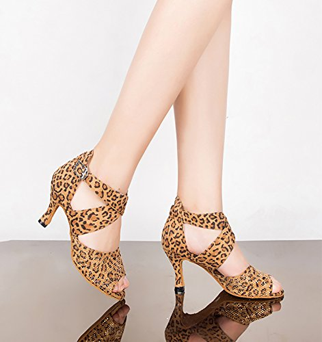 Dance Room Wymname Bottom Modern High A Latin Living Shoes with Soft Forest Womens Heels qrSpnErgw