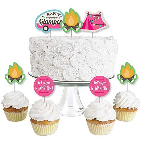 Let's Go Glamping - Dessert Cupcake Toppers - Camp Glamp Party or Birthday Party Clear Treat Picks - Set of 24]()