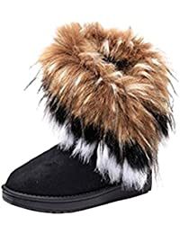 Warm Fur Winter Boots for Women - Stylish Womens Winter Boots Mid Calf Ankle Boots Faux Fur Tassel Shoes