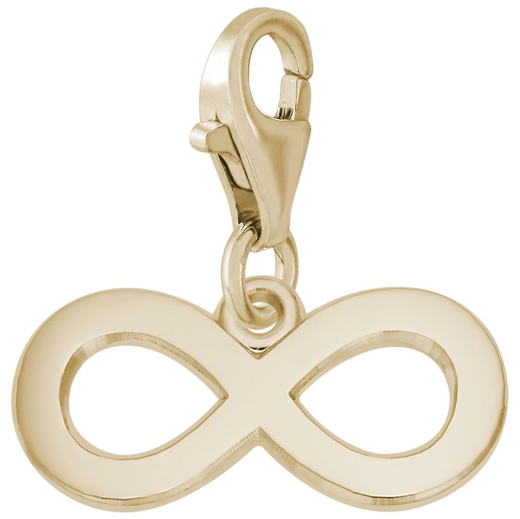 14K Yellow Gold Infinity Charm With Lobster Claw Clasp, Charms for Bracelets and Necklaces