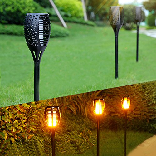 Auto On//Off Outdoor Solar Security Path Lights for Wedding,Garden,Landscape,Patio and Festival Decoration 96 LED Waterproof Dancing Flame Solar Decoration Lights YANYU Solar Torch Garden Lights