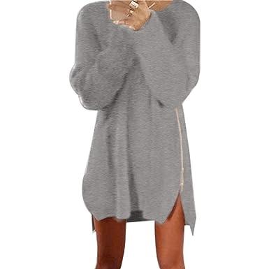 Style magnifique style roman soldes OVERDOSE,Robe Sweat Oversize Femme Manches Longues Robe Sweat à Capuche  Casual Tops avec Fermeture éclair