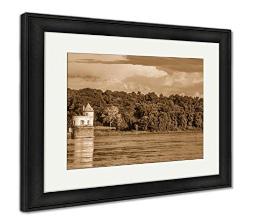 Historic Water Intake Tower Number 1 Built In 1894 Below The Old Chain Of Rocks, Wall Art Home Decoration, Sepia, 26x30 (frame size), Black Frame, AG6545932 (Historic Water Tower)