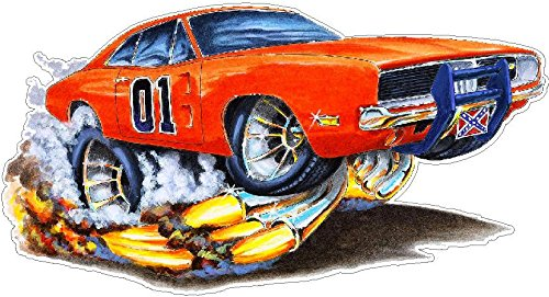 General Lee Firebreather WALL DECAL 2ft long Cartoon Cars Classic Vinyl Sticker Man Cave Garage Boys Room Decor