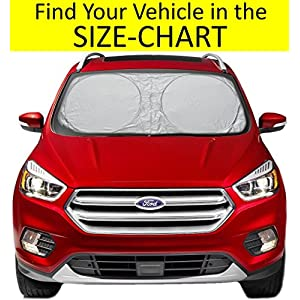 Sunshade for Car Windshield SIZE-CHART for Car Truck Suv Minivan Uv Protector Cover Shields Auto Front Window Keeps Cool and Fold-Unfold Fits Various Vehicles