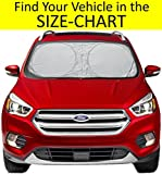 #6: Sunshade for Car Windshield SIZE-CHART for Car Truck Suv Minivan Uv Protector Cover Shields Auto Front Window Keeps Cool and Fold-Unfold Fits Various Vehicles