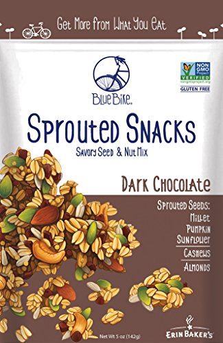 Blue Bike Sprouted Snacks, Dark Chocolate, Seed and Nut Mix, Gluten-Free, Vegan, Non-GMO,  5-ounce bag