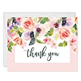 Pink Wildflower Blooms Thank You Cards with Envelopes (Pack of 50) Folded Blank Birthday Anniversary Gift Thanks Bridal Baby Shower Wedding Thank You Gracias Notes Excellent Value Notecards VT0017