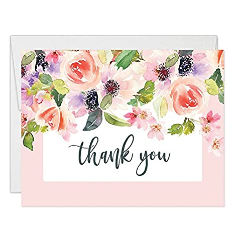 Amazon Com Pink Wildflower Blooms Thank You Cards With Envelopes