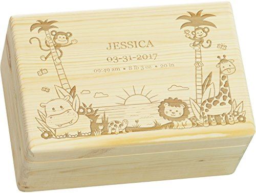 LAUBLUST Engraved Wooden Memory Box - Size L, 12x8x6in - ❤️ Personalized ❤️ Baby Keepsake Box - Jungle Design | Natural Wood - Made in Germany by LAUBLUST (Image #6)