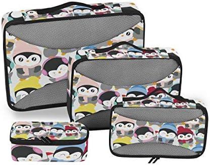 漫画のカラフルなペンギン荷物パッキングキューブオーガナイザートイレタリーランドリーストレージバッグポーチパックキューブ4さまざまなサイズセットトラベルキッズレディース
