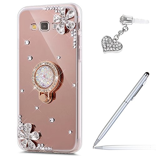 Galaxy Grand Prime Case,Galaxy Grand Prime Mirror Case,ikasus Inlaid diamond Flowers Rhinestone Glitter Bling Mirror TPU Case & Ring Stand Holder +Touch Pen Dust Plug for Galaxy Grand Prime,Rose Gold
