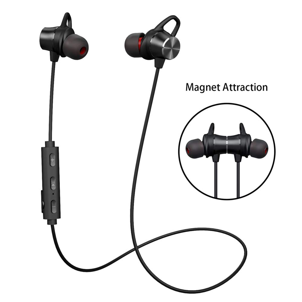 Bluetooth Headphones, GRDE V4.1 Bluetooth Headset with Magnetic Earbuds Snug Fit for Sports (Waterproof Wireless Bluetooth Headphones for 10 Hours Playtime, CVC 6.0 Noise Cancelling Microphone)