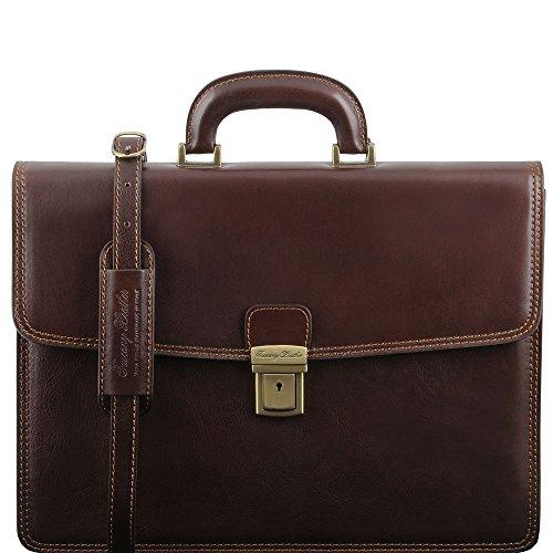Tuscany Leather - Amalfi - Cartable en cuir avec 1 compartiment - Marron foncé - Homme