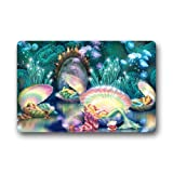 Wonderful Underwater World Beautiful Mermaid Seashell Art Non-Woven Fabric Door Mat Indoor/Outdoor/Bathroom Doormat Rugs for Home/Office/Bedroom 23.6''(L) x 15.7''(W)