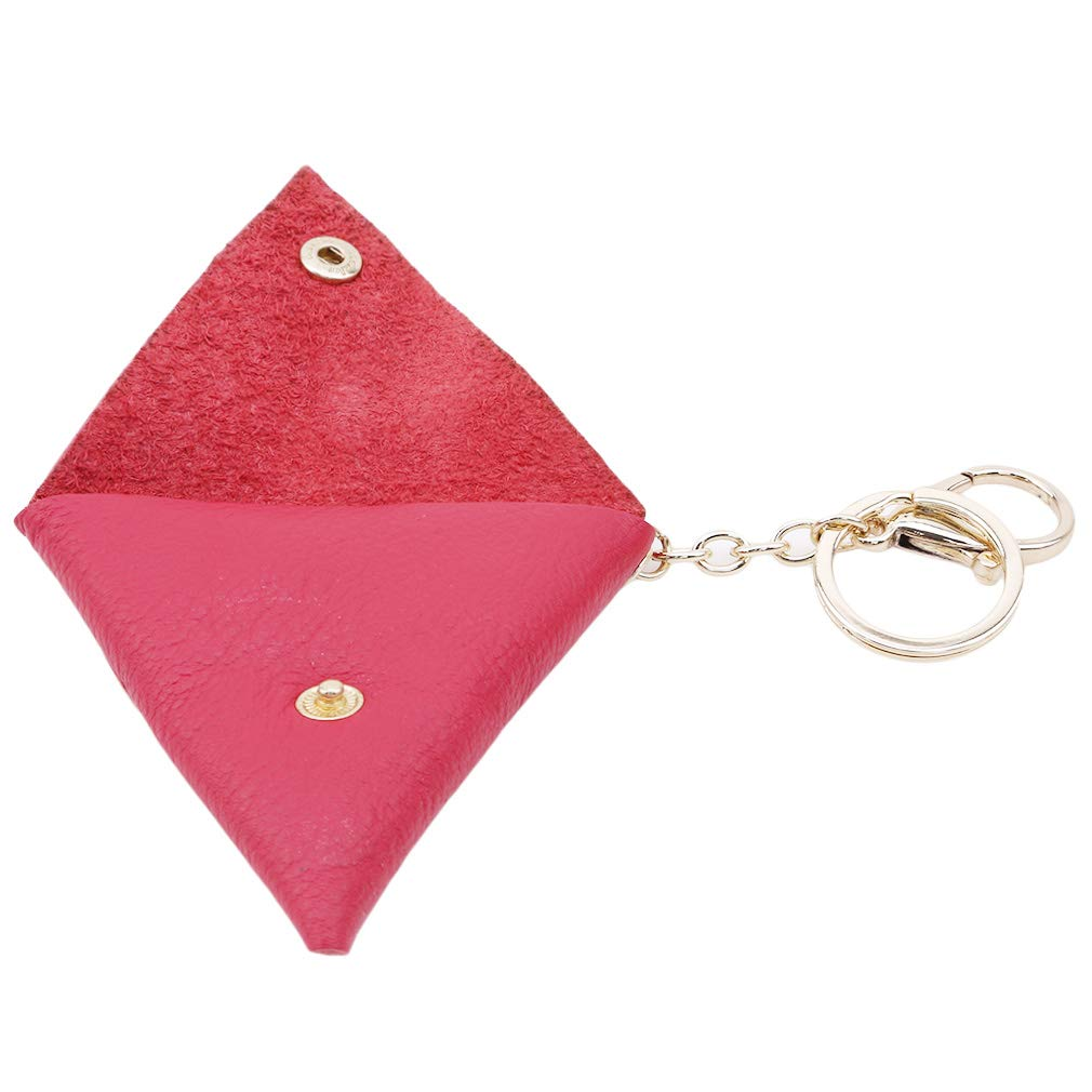 DearAnswer Mini Triangle Leather Coin Purse Wallet Change Pouch Bag Key Holder With Key Ring for Men Women,Rose Red