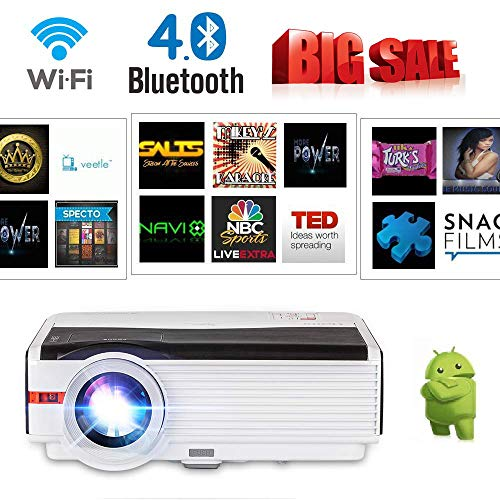 LCD Wireless Bluetooth HD Projector 4200 Lumen, High Definition 2019 Android WiFi Home Theater Video Projectors 1080P Support Airplay DLNA Screen Mirror with iPad Phone, HDMI VGA USB Audio Speakers