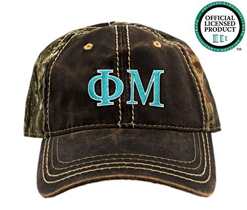 Phi Mu Embroidered Camo Baseball Hat, Various Thread Colors