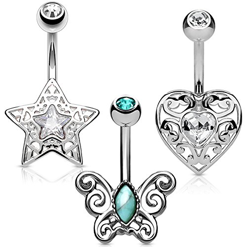 BodyJ4You 3PC Belly Button Rings Set 14G Butterfly Heart Stainless Steel Curved Navel Barbell ()