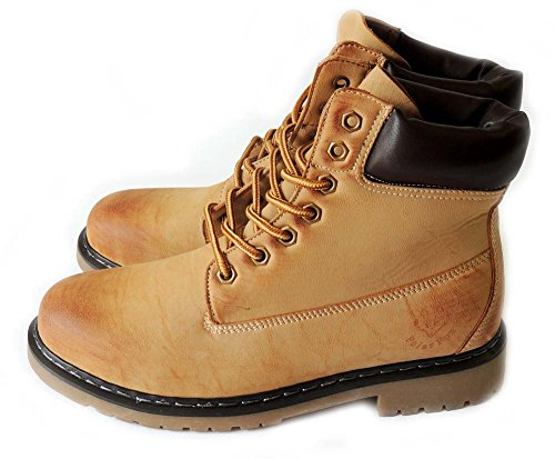 NEW POLAR FOX MENS LEATHER ANKLE BOOTS MILITARY COMBAT STYLE WORKING SHOES MPX506006 / TAN DUpf6e