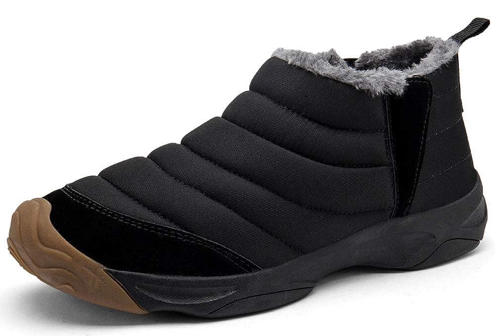 Black Eagsouni Women Men Anti-Slip Waterproof Ankle Snow Boots Fully Fur Lined Winter Outdoor Booties Sneakers