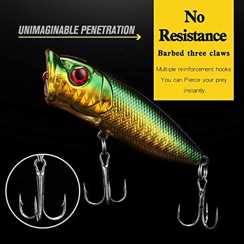 JJY 5 Pcs 2.75in//12g Popper Fishing Lures Fishing Lure Baits Kit Crankbait Minnow Hard Lure with Treble Hooks for Saltwater Freshwater Bass Trout Walleye Carp